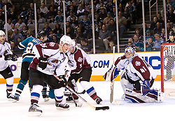March 28, 2010; San Jose, CA, USA; Colorado Avalanche center Paul Stastny (26) clears the puck in front goalie Craig Anderson (41) during the second period against the San Jose Sharks at HP Pavilion. San Jose defeated Colorado 4-3. Mandatory Credit: Jason O. Watson / US PRESSWIRE