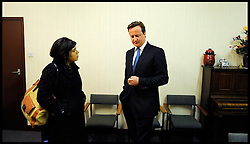 The Prime Minister David Cameron in the green room before his  Local election launch in Afreton, with Sayeeda Warsi, Monday April 16, 2012. Photo By Andrew Parsons/i-Images