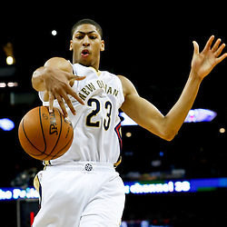 Nov 2, 2013; New Orleans, LA, USA; New Orleans Pelicans power forward Anthony Davis (23) reaches for the ball after it was knocked away from him during the first half of a game against the Charlotte Bobcats at New Orleans Arena. Mandatory Credit: Derick E. Hingle-USA TODAY Sports