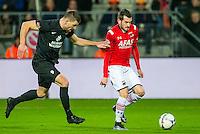 ALKMAAR - 02-02-2016, AZ - HHC, AFAS Stadion, 1-0, HHC speler Jan Hooiveld, AZ speler Rajko Brezancic