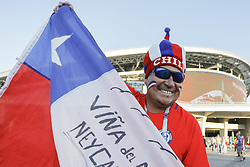 June 28, 2017 - Kazan, Russia - Chile national team supporter during FIFA Confederations Cup Russia 2017 semi-final match between Portugal and Chile at Kazan Arena in June 28, 2017 in Kazan, Russia. (Credit Image: © Mike Kireev/NurPhoto via ZUMA Press)