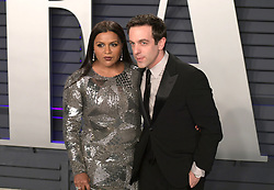 February 24, 2019 - Beverly Hills, California, U.S - Mindy Kaling (L) and B.J. Novak on the red carpet of the 2019 Vanity Fair Oscar Party held at the Wallis Annenberg Center in Beverly Hills, California on Sunday February 24, 2019. JAVIER ROJAS/PI (Credit Image: © Prensa Internacional via ZUMA Wire)