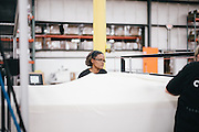 BELMONT, MS – MARCH 3, 2016: Foam pads are encased in a cloth covering during production of the new Cocoon mattress line by Tempur Sealy.<br /> <br /> As the ecommerce revolution extends to larger household items, mattress giant Tempur Sealy has developed a mattress in a box solution to appeal to online shoppers. CREDIT: Bob Miller for The Wall Street Journal<br /> MATTRESS
