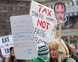 © Licensed to London News Pictures . 16/03/2013 . Manchester , UK . Hundreds of protesters opposed to changes to housing benefit , known as the Bedroom Tax , in Piccadilly Gardens in Manchester City Centre today (16th March) as part of a coordinated campaign of demonstrations in cities across the UK . The government plans to introduce changes to housing benefit from this April which will see some claimants receive a reduced amount if they have excess living space . Photo credit : Joel Goodman/LNP