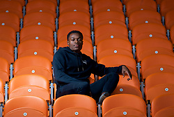 BLACKPOOL, ENGLAND - Thursday, October 25, 2018: Blackpool FC's Marc Bola poses for a portrait in the main stand at Bloomfield Road ahead of the Football League Cup clash against his former club Arsenal. (Pic by David Rawcliffe/Propaganda)