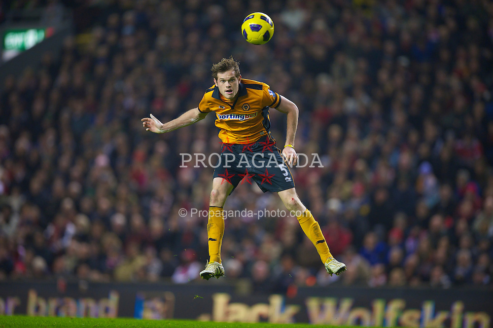 LIVERPOOL, ENGLAND - Wednesday, December 29, 2010: Wolverhampton Wanderers' Richard Stearman in action against Liverpool during the Premiership match at Anfield. (Photo by: David Rawcliffe/Propaganda)