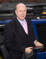 © Licensed to London News Pictures. 02/01/2019. London, UK. Transport Secretary Chris Grayling emerges from a BBC radio car after giving interviews about today's rail fare increases. Photo credit: Peter Macdiarmid/LNP