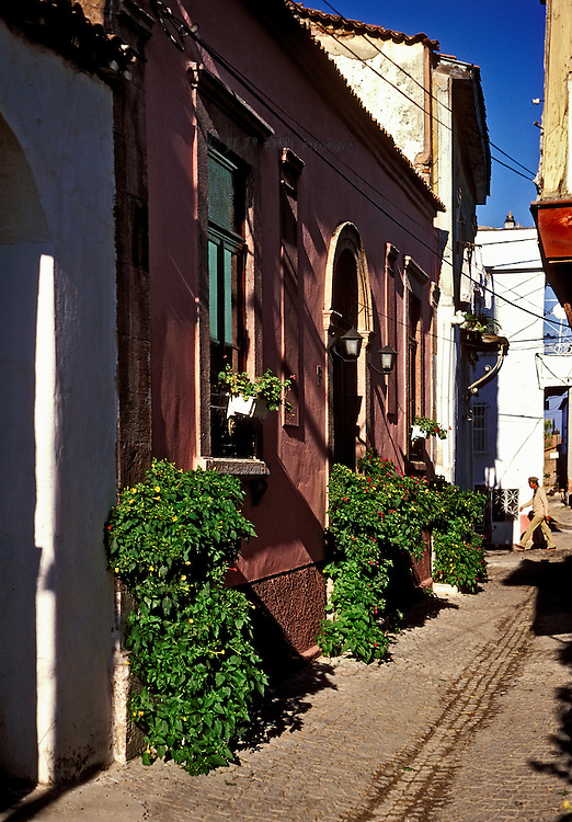 Refurbished old Greek house on a narrow street in Ayvalik.  Freshly painted, window boxes, and flourishing decorative plants suggest occupancy.