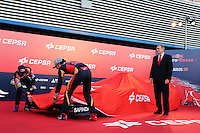 (L to R): Max Verstappen (NLD) Scuderia Toro Rosso and team mate Carlos Sainz Jr (ESP) Scuderia Toro Rosso unveil the new Scuderia Toro Rosso STR10.<br /> Formula One Testing, Preparation Day, Saturday 31st January 2015. Jerez, Spain.