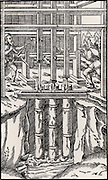 Draining mine workings with a bank of three suction pumps.  As the men turn the shaft the cams, B, connect with tappets. A, on the piston rods, C. From 'De re metallica', by Agricola, pseudonym of Georg Bauer (Basle, 1556).  Woodcut.