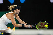 MELBOURNE, VIC - JANUARY 15: Belinda Bencic of Switzerland plays a shot during the 2018 Australian Open on January 15, 2018, at Melbourne Park Tennis Centre in Melbourne, Australia.(Photo by Jason Heidrich/Icon Sportswire)MELBOURNE, VIC - JANUARY 15: