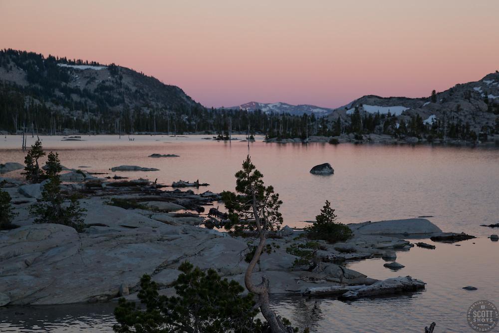 """Lake Aloha Sunset 1"" - Photograph at sunset of Lake Aloha located in the Tahoe Desolation Wilderness."