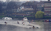 London. United Kingdom. 1998 Boat Race, Putney to Mortlake, Championship Course.  River Thames. 28.03.1998..Description: General views from Chiswick Bridge. Isis vs Goldie Race...Chiswick Bridge...Annual Varsity Boat Race - between Oxford University BC and Cambridge University BC. [Mandatory Credit; Peter Spurrier/Intersport-images]  ..Scanned in 2012 so has 2012  file No:.Rowing Varsity 2012 011106.jpg.. 19980328 University, Varsity,  Boat Race. London. UK