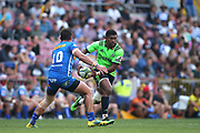 Waisake Naholo of the Highlanders attempts to get past Josh Stander of the Stormers during the 2019 Super Rugby game between the Stormers and the Highlanders at Newlands Rugby Stadium in Cape Town on 25 May 2019 © Shaun Roy/BackpagePix
