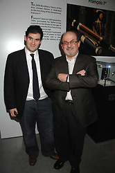 Left to right, ZAFAR RUSHDIE and his father writer SALMAN RUSHDIE at the Montblanc de la Culture Arts Patronage Award 2008 presented to Louise Blouin MacBain at the Louise Blouin MacBain Institute, 3 Olaf Street, London W11 on 16th April 2008.<br /><br />NON EXCLUSIVE - WORLD RIGHTS