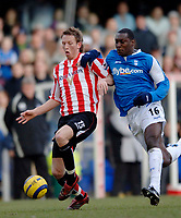 Photo: Glyn Thomas.<br />Birmingham City v Sunderland. The Barclays Premiership. 25/02/2006.<br />Birmingham's Emile Heskey (R) battles for the ball with Danny Collins.