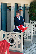 Pierce Brosnan unveils his cabin sign as a tribute for his career along the promenade des planches during the 40th Deauville American film festival
