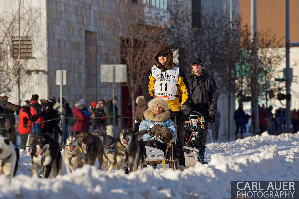 March 7th, 2009:  Anchorage, Alaska: Michael Suprenant of Chugiak, Alaska at the start of the 2009 Iditarod race.
