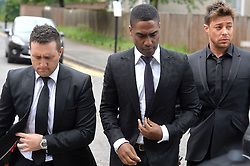 Pictured are Blue band members, Anthony Costa, Simon Webb and Duncan James.<br /> Blue star and Big Brother Contestant Lee Ryan arrives at Ealing Magistrates Court, London, UK, where he is charged with drink driving after a night out in London.<br /> Friday, 2nd May 2014. Picture by Ben Stevens / i-Images