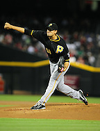 Sep. 20 2011; Phoenix, AZ, USA; Pittsburgh Pirates pitcher Charlie Morton (50) delivers a pitch during the first inning against the Arizona Diamondbacks at Chase Field.  Mandatory Credit: Jennifer Stewart-US PRESSWIRE..