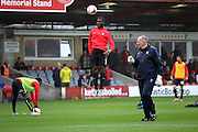 York City warm up before the The FA Cup match between Accrington Stanley and York City at the Fraser Eagle Stadium, Accrington, England on 7 November 2015. Photo by Pete Burns.