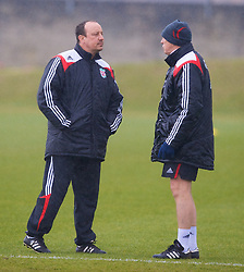 LIVERPOOL, ENGLAND - Friday, March 28, 2008: Liverpool's manager Rafael Benitez and assistant Alex Miller training at Melwood ahead of the Merseyside Derby match against Everton. (Photo by David Rawcliffe/Propaganda)