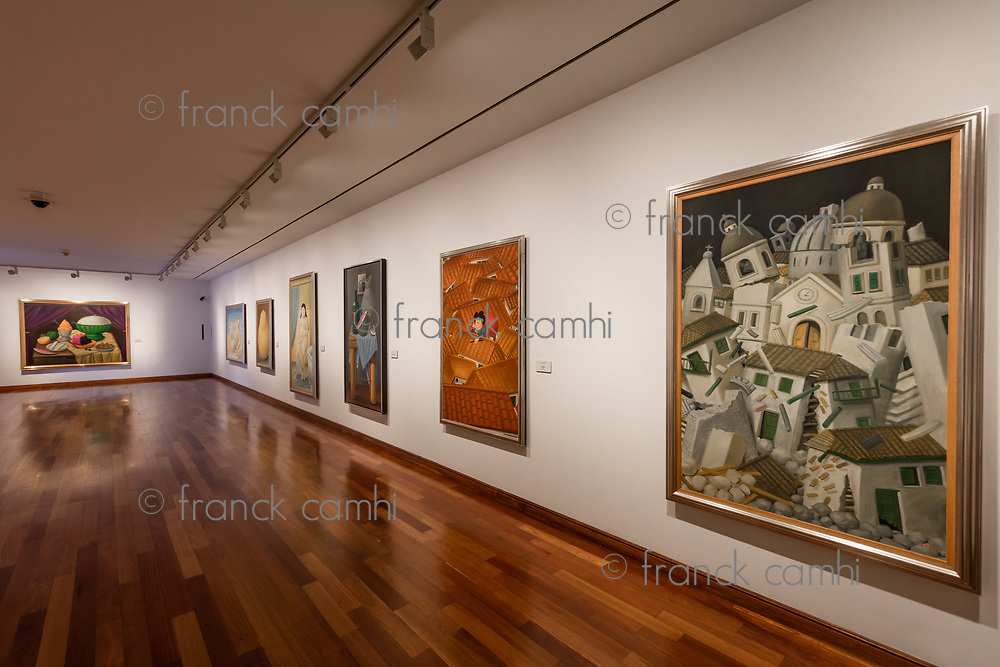 Bogota, Colombia  - February 4, 2017 : paintings of Museo Botero museum in La Candelaria area Bogota capital city of Colombia South America