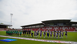 WREXHAM, WALES - Saturday, May 3, 2014: Aberystwyth Town and The New Saints players line-up before the Welsh Cup Final at the Racecourse Ground. (Pic by David Rawcliffe/Propaganda)