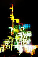 Semi abstract night time motion blur photograph of Frankfurt financial centre buildings. Commerzbank and European Central Bank
