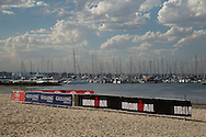 Eastern Beach Prepared For Ironman Race, February 8, 2014 - Triathlon : Geelong Ironman 70.3, Eastern Beach Precinct, Geelong, Victoria, Australia. Credit: Lucas Wroe
