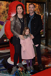 Amanda Lamb, Sean McGuinness and Willow attend the Lego Ninjago:  Masters Of Spinjitzu UK TV premiere at The Empire Cinema, Leicester Square, on Saturday 7 February 2015