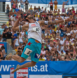 04.08.2011, Klagenfurt, Strandbad, AUT, Beachvolleyball World Tour Grand Slam 2011, im Bild Clemens Doppler AUT, EXPA Pictures © 2011, PhotoCredit EXPA Gert Steinthaler