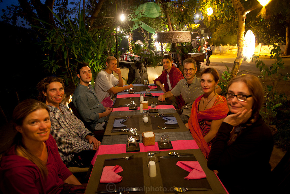 Dinner at Sala Café on the Nam Khan River in Luang Prabang, Laos.