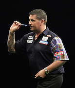 Gary Anderson v Dave Chisnall at the Betway Premier League Darts at the Motorpoint Arena, Sheffield, United Kingdom on 9 April 2015. Photo by Glenn Ashley.