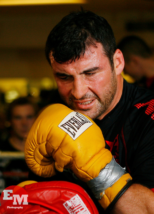 Nov 3, 2008; New York, NY, USA; Light Heavyweight Champion Joe Calzaghe works out at the Kingsway Gym in New York City in preparation for his November 8, 2008 fight against Roy Jones Jr.  The two will meet at Madison Square Garden in NY, NY.