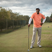 "CHARLOTTE, NC - OCTOBER, 28 2017:   James ""Slim"" Bouler poses for a portrait on Dr. Charles Sifford Golf Course in west Charlotte, NC."