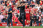 Liverpool Manager Jurgen Klopp during the Premier League match between Liverpool and Newcastle United at Anfield, Liverpool, England on 14 September 2019.