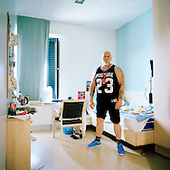 Halden Prison, Norway, June 2014:<br /> Tom in his cell in C8, a special unit focused on addiction recovery.<br /> -- No commercial use --<br /> Photo: Knut Egil Wang/Moment/INSTITUTE