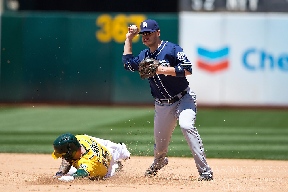 OAKLAND, CA - JUNE 18:  Clint Barmes #12 of the San Diego Padres completes a double play over Brett Lawrie #15 of the Oakland Athletics during the fifth inning at O.co Coliseum on June 18, 2015 in Oakland, California. The San Diego Padres defeated the Oakland Athletics 3-1. (Photo by Jason O. Watson/Getty Images) *** Local Caption *** Clint Barmes; Brett Lawrie
