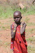Young Mursi tribe Children. Debub Omo Zone, Ethiopia, close to the Sudanese border.