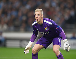 MANCHESTER, ENGLAND - Wednesday, October 2, 2013: Manchester City's goalkeeper Joe Hart in action against Bayern Munich during the UEFA Champions League Group D match at the City of Manchester Stadium. (Pic by David Rawcliffe/Propaganda)