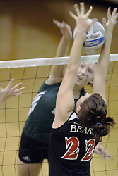 27 October 2006: Katie Butson delivers a solid blow, but Ellen Bruegge gets a great block. The Bears won the match 3 games to 1. The match between the Washington University Bears and the Illinois Wesleyan Titans took place at Shirk Center on the IWU campus in Bloomington Illinois.<br />