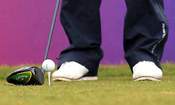 General view of a golf ball on a tee during day one of the Betfred British Masters at Hillside Golf Club, Southport.