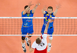Matevz Kamnik and Tine Urnaut of Slovenia vs Zoltan Kovacs of Hungary  during qualifications match of FIVB Men's Volleyball World Championship 2014 between National teams of Slovenia and Israel in pool B on May 25, 2013 in Arena Stozice, Ljubljana, Slovenia. Slovenia defeated Hungary 3-0. (Photo By Vid Ponikvar / Sportida)