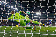 GOAL PENALTY 1-0 Chelsea midfielder Jorginho (5) beats Arsenal goalkeeper Bernd Leno (1) to put Chelsea in the lead during the Premier League match between Chelsea and Arsenal at Stamford Bridge, London, England on 21 January 2020.
