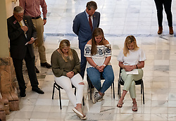 Georgia Gov. Brian Kemp, his wife Marty and two of their daughters pray during a prayer service called by Kemp on Monday morning, April 27, 2020 at the State Capitol. Photo by Ben Gray/Atlanta Journal-Constitution/TNS/ABACAPRESS.COM