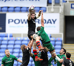 Edinburgh's Ben Toolis wins the ball in the line out ahead of London Irish's Nic Rouse - Photo mandatory by-line: Robbie Stephenson/JMP - Mobile: 07966 386802 - 05/04/2015 - SPORT - Rugby - Reading - Madejski Stadium - London Irish v Edinburgh Rugby - European Rugby Challenge Cup