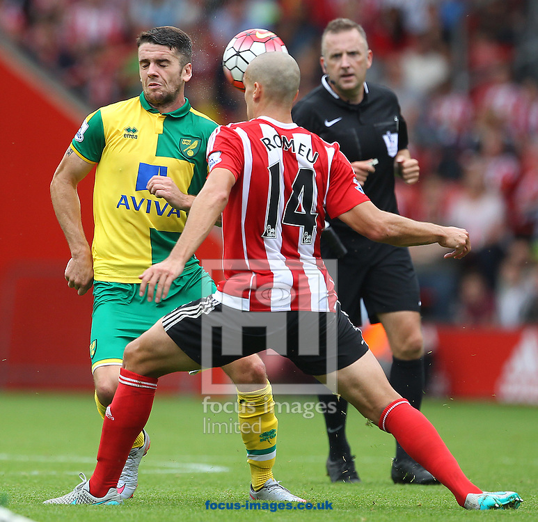 Robbie Brady of Norwich and Oriol Romeu of Southampton in action during the Barclays Premier League match at the St Mary's Stadium, Southampton<br /> Picture by Paul Chesterton/Focus Images Ltd +44 7904 640267<br /> 30/08/2015