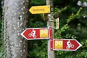 Wegweiser für Mountainbike-Touren, Stein am Rhein, Bodensee, Thurgau, Schweiz