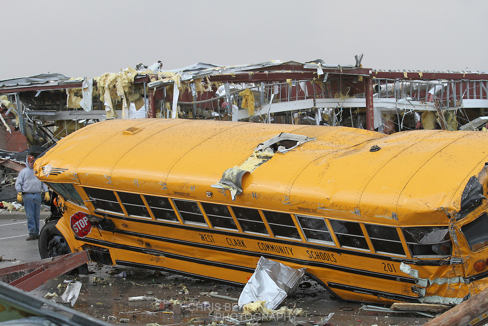 A school bus destroyed in Henryville, Indiana Friday afternoon after a tornado ripped through the town and hit the high school. One person was reported to be killed in the town..Chris Bergin/SWAT Chasers